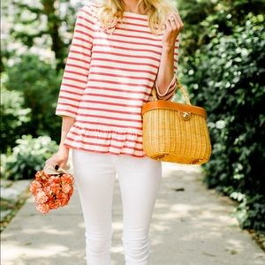 Kate Spade offw/pink Stripe Corsage Tee